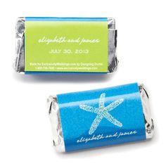 Hershey's® Seaside Romance Mini Chocolate Bars Personalized Favor | #exclusivelyweddings | #bluewedding