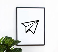 $14 - Click for GET ONE FREE Promotion (Coupon Code: GETFREE) Paper Airplane poster, inspirational, wall decor, home decor, print art, gift idea, graphic art, geometric print, black and white poster