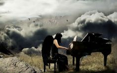 The Pianist by Schindlersky on DeviantArt Angel Clouds, Music Express, Les Oeuvres, Piano, Music Instruments, Romance, Deviantart, Fantasy, Artist