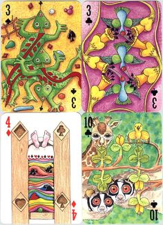 4 cards from 2000Pips Transformation Playing Cards  Designed by Peter Wood (1999)