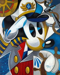"""""""Cubist Captain"""" By Tim Rogerson - Original Oil on Canvas, 30 x 24.  #Disney #DisneyFineArt #MickeyMouse #TimRogerson"""