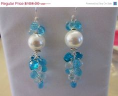 ON SALE White South Sea Pearl Earrings...Swiss Blue by sharrona, $86.40