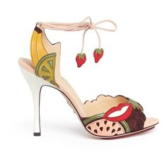 Charlotte Olympia 'Fruit Salad' ankle tie suede sandals (3.185 BRL) ❤ liked on Polyvore featuring shoes, sandals, ankle tie sandals, charlotte olympia sandals, ankle wrap sandals, ankle wrap shoes and wrap shoes