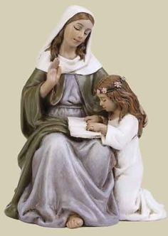 Anne Scale statue made of resin/stone mix. Mother Angelica, Mother Mary, Catholic Crafts, Religious Books, St Anne, Holy Family, St Joseph, Blessed Mother, Christian Art
