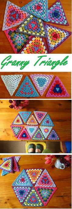 crochet granny triangle #crochetsquares
