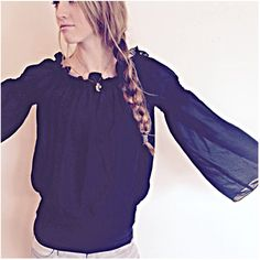 Vintage 90s black sheer blouse boho hippie featuring polyvore, women's fashion, clothing, tops, blouses, boho tops, hippie tops, bohemian style tops, transparent blouse and see through tops