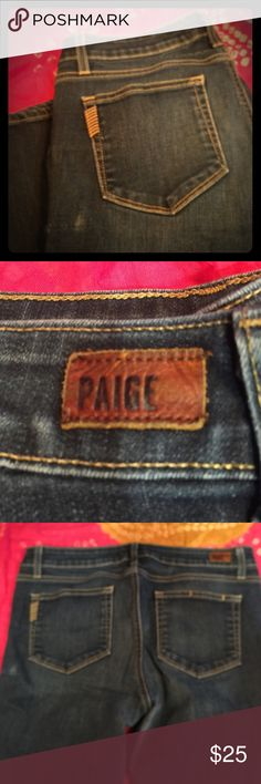 Paige stone washed ankle denim jeans 31 You will absolutely love these comfy, classic jeans. The material flexes with your movement with soft cotton. Tons of wear left in them. Small light spot below left back pocket, as shown on covershot. Paige Jeans Jeans Ankle & Cropped