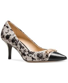 COACH Bowery Pointed-Toe Pumps $109.99 The exotic texture of snake-print leather meets the bright shine of custom hardware on a refined kitten-heel pump with a sharp pointed toe. Its sinuous shape is finished with smooth leather linings and soles.