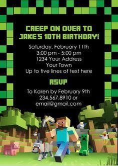 Minecraft Party Invitation - Editable