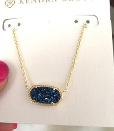 SOLD. Kendra Scott Elisa Pendant Necklace In Blue Drusy Custom NWT  SALE  | eBay