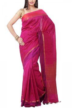 Pink & Fuchsia Self Woven Kanchi Pure Cotton Silk Saree