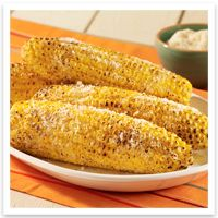 Parmesan Garlic Grilled Corn Grilling spray oil 1/4 cup butter 1/2 tsp ...
