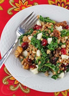 Warm Kale Farro Winter Fruit Salad © Jeanette's Healthy Living