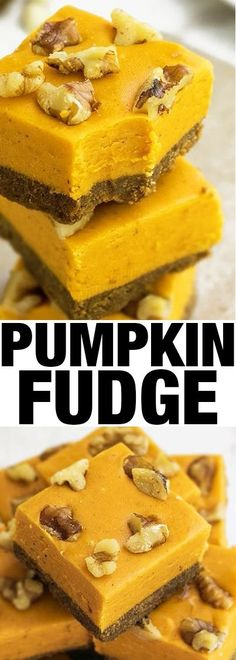 Quick and easy PUMPKIN FUDGE recipe with gingersnap crust and walnut topping. This pumpkin spice fudge is the perfect Fall and Thanksgiving dessert {Ad} From cakewhiz.com.