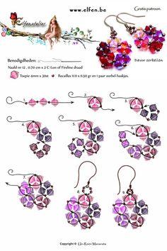 Gratis patronen | Elfenatelier Seed Bead Necklace, Seed Bead Jewelry, Beaded Earrings, Seed Beads, Beaded Jewelry, Seed Bead Bracelets Tutorials, Diy Jewelry Tutorials, Beading Tutorials, Jewelry Crafts