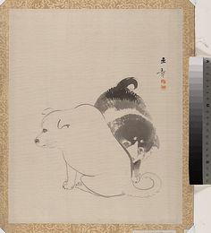 Kawabata Gyokushô (Japanese, 1842–1913). Puppies. Meiji period (1868–1912). Japan.