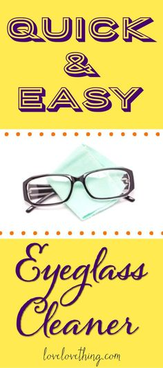 One of the easiest things you can make yourself - homemade eyeglass cleaner! Cleaners Homemade, Diy Cleaners, Cleaning Recipes, Cleaning Hacks, Natural Cleaning Products, Household Products, Natural Cleaners, Household Cleaners, Cleaning Solutions