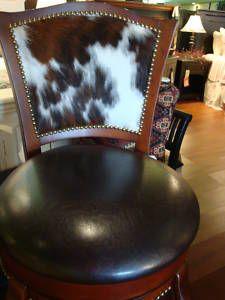 Western Cowhide Leather Swivel Barstool Cherry Hair on Hide set of 3 Barstools