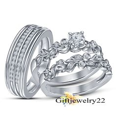 His and Her Diamond Engagement Bridal Wedding Band Trio Ring Set 14K White Gold #giftjewelry22