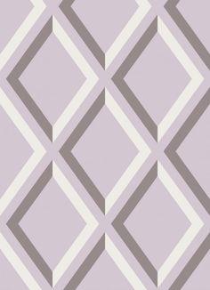 Pompeian Wallpaper Grey white and mauve diamond panel effect wallpaper