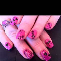 Cute Valentines nails done with Hot Pop Pink and Black Pool CND Shellac