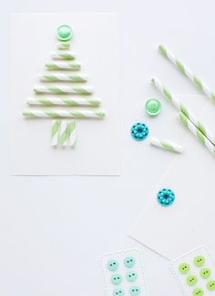 christmas cards using buttons and paper straws