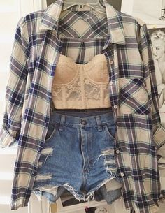Definitely love this! Plaid shirt high waisted shorts and bandeau like top! Love love love!