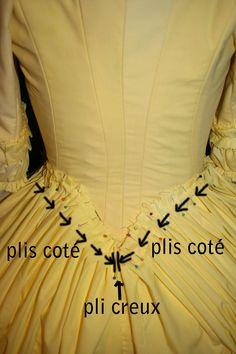 Il est temps de reprendre ce tuto :) Voici la méthode pour réaliser les plis sur cette robe : Le dos est composé de plis coté partant du devant et allant vers le centre dos , d'un pli creux puis de plis coté partant de l'avant et allant vers le dos ce...