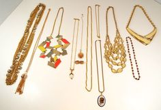 "13 Piece Estate Lot Vintage Modern Gole Tone Metal Necklaces Earrings 7"" - 30"" #1928Unbranded"