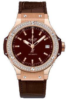 365.PC.3180.LR.1104 Hublot швейцарские часы Red Gold Cappuccino Diamonds - женские наручные часы - золотые с бриллиантами, коричневые, капучино