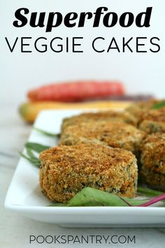 Superfood veggie cakes are a tasty way to get more vegetables into your diet. They are baked, not fried, and full of nutrient dense ingredients. Tuck these delicious veggie cakes into lunch boxes for a healthy midday meal. Baked Vegetables, Healthy Vegetables, Veggies, Vegetable Cake, Vegetable Dishes, Vegetable Frittata, Vegetarian Recipes Easy, Healthy Recipes, Vegetarian Cooking