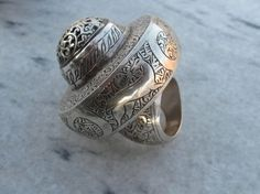 Big Silver Ring with some magnificent carving - Afghan