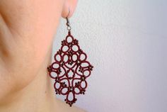 Marsala lace earrings made in Italy  tatted lace by Ilfilochiaro
