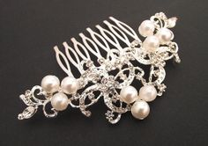 Bridal hair comb crystal & pearl wedding hair comb by nefertitijewelry2009, $34.00