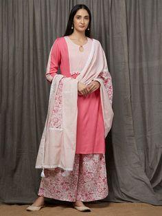 Pink White Rayon Kurta with Hand Block Printed Cotton Palazzo and Dupatta- Set of 3 Indian Attire, Indian Ethnic Wear, Chudithar Neck Designs, Kurta Style, Kurta With Pants, Kurti Designs Party Wear, Dress Indian Style, Indian Designer Outfits, Linen Dresses
