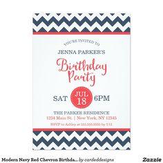 Modern Navy Red Chevron Birthday Party 5x7 Paper Invitation Card