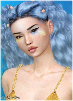 Mermaid Skin, Mermaid Makeup, Fairy Makeup, Makeup Art, Sims 4 Game Mods, Sims Mods, The Sims 4 Cabelos, Fantasy Hair, Fantasy Makeup