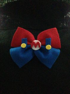 Super Mario Bros Mario Inspired Bow- Felt Hair Bow or Clip On Bow Tie by… Super Mario Birthday, Super Mario Bros, Cute Crafts, Felt Crafts, Mario Crafts, Lego Ninjago, Felt Hair Bows, Clip On Bow Ties, Disney Bows