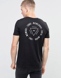 Imagen 2 de Camiseta larga negra con estampado en pecho y en la espalda de ASOS