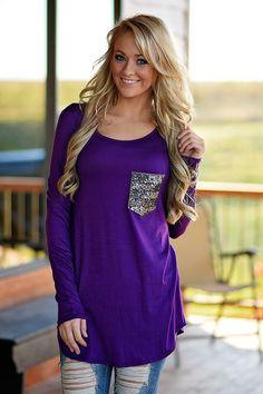 Glam Pocket Top - Purple – The Pulse Boutique
