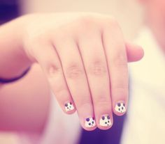 Hot pink amp french white nails cute in 2019 nails cute nails. Panda Bear Nails, Panda Nail Art, White Nails, Pink Nails, Glitter Nails, Little Girl Nails, Girls Nails, Girls Nail Designs, Pretty Nail Designs