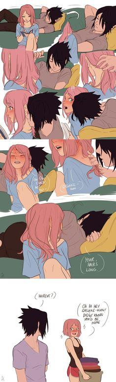 "🐺""Doesn't Sakura look better with her hair short?""🐺"" NOPE YOU DID NOT!""❤""Calm down Shoku."" 🐺( runs for Sasuke ) ❤( grabs shirt ) 🖤"" I'm gonna take a nap. Anime Naruto, Naruto Comic, Naruto Funny, Naruto And Sasuke, Naruto Uzumaki, Naruhina, Kakashi, Anime Couples Manga, Cute Anime Couples"