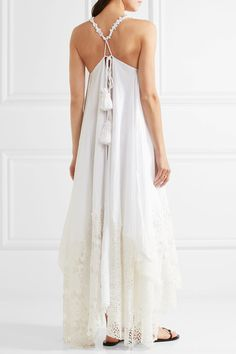 Anjuna - Elena Crocheted Lace-trimmed Woven Maxi Dress - White - x small