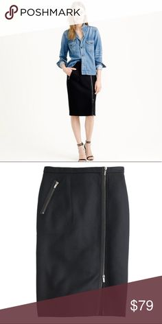 J. Crew black asymmetrical zip wool skirt Classy with a twist! This skirt has exposed zippers to add a little edge to a classic wool pencil skirt. How you wear it is up to you—leave the slit open to show some leg or zip it to the hem for a clean, polished feel. Double serge wool. Lined. Side zip. New and unworn. Tag says 6P but fits TTS 6. J. Crew Skirts Pencil