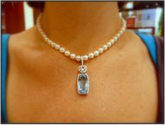 Pearl and Aquamarine necklace, custom made by Princess Bride Diamonds in Huntington Beach