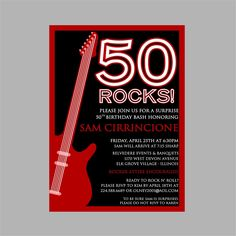 50th Birthday Rock N' Roll Party Invitation by PoshPapetiere
