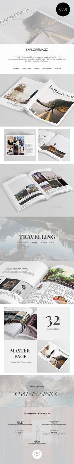 Exploremagz Magazine Template InDesign INDD #design Download…