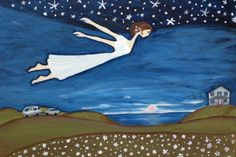 Flying Girl Remembers Her Dreams or Night by rowenamurillo on Etsy, (because in order to live your dreams, you have to remember them.)