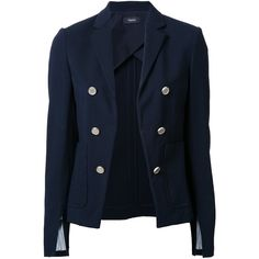 Theory cropped blazer (6.433.285 IDR) ❤ liked on Polyvore featuring outerwear, jackets, blazers, coats & jackets, blazer, blue, theory blazer, blue blazer, blazer jacket and theory jacket