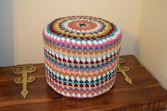 Cottage Granny Square Footstool Pouf Crochet Multicolor Upcycle Recycle. $65.00, via Etsy.